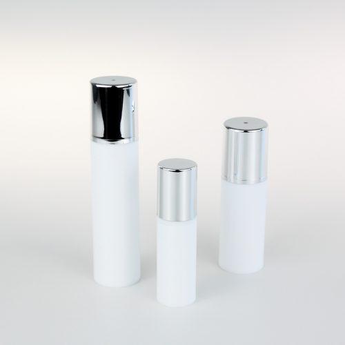 white empty airless bottles