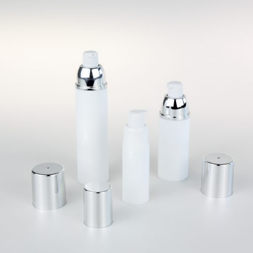 white empty airless bottle