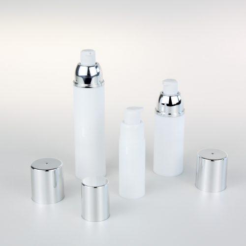 white empty airless bottle