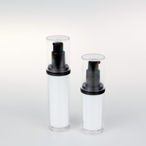black and white cosmetic lotion bottles