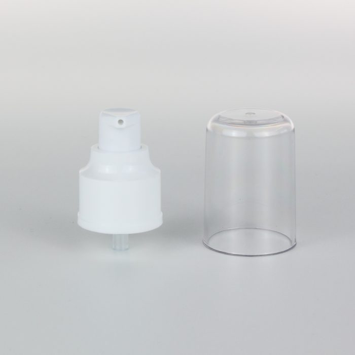 white treatment pumps with transparent cover